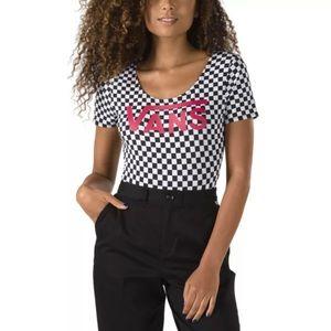 Vans Black White Checkered Bodysuit Logo On Front